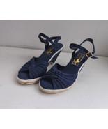 70s Shoes Blue Canvas Wedge Vintage Butterflies... - $29.99