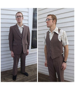 Vintage 70s Mens Brown Suit 1970s 3 piece 42 S - $170.00