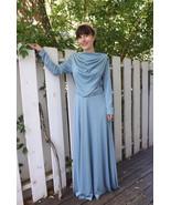 70s Blue Mod Draped Dress Space Age Maxi Vintag... - $39.99