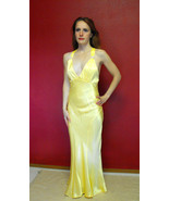 Satin Yellow Gown Old Hollywood 90s Retro Vintage Formal Evening Prom Pa... - $68.00