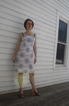 50s White Cotton Dress Print Summer Sun Vintage 1950s XS - $57.00