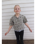 40s 30s Girls Shirt Floral Print Short Sleeve V... - $8.99