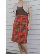60s Red Plaid Skirt Print Vintage 1960s XS - $29.99