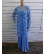 70s Blue Dress Maxi Sleeveless Retro Hippie She... - $24.00