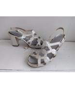 Silver Platforms Sandals Disco Heels Shoes Open Toe 5 B Metallic 70s Sum... - $45.00
