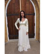 Vintage 70s Gunne Sax Dress Ivory Satin Hippie ... - $89.99