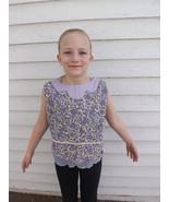 Vintage Girls Purple Floral Print Shirt Sleevel... - $7.99