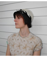 Vintage Hat Ivory Blue Woven Cloche Everitt Ori... - $16.00