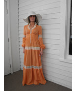Prairie Dress Corset Gunne Style Vintage Boho Lace Orange 60s 70s XS - $89.99