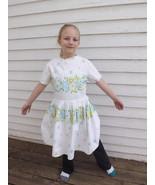Vintage Girls Dress White Floral Print Cotton S... - $35.00