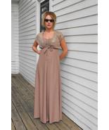 Vintage 70s Maxi Dress Beige Sheer Lace Shrug X... - $39.99