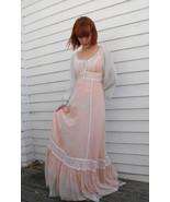 Gunne Sax Dress Corset Prairie Lace Hippie Full Vintage 70s XXS Petite T... - $79.99