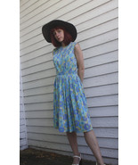 Blue Floral Print Sleeveless Dress Pleated Caro... - $29.99