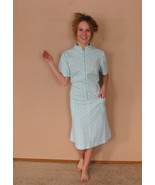 Mod 60s Dress 1960s Sci Fi Aqua Blue Zip Up Vin... - $29.99