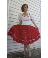 Vintage Red White Print Country Dress Square Dance Rockabilly S - $39.99