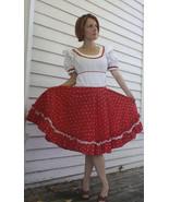Vintage Red White Print Country Dress Square Da... - $39.99