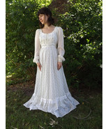 Gunne Sax Floral Dress White XS Western Prairie 1970s Full Length Corset 5 - $79.99