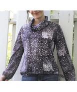 70s Print Blouse Stars Snowflake Dark Blue Long... - $19.99