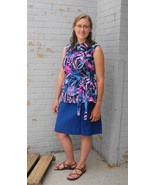 Floral Blouse Sleeveless Top Vintage 70 Blue L XL - $15.00