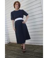 Vintage 80s Dark Blue Dress Short Sleeve Retro ... - $19.99
