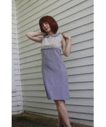 Vintage 60s Dress Striped Gray Collar Sleeveles... - $79.99