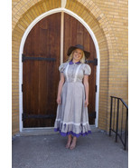 Vintage 50s Country Dress Full Skirt Western Prairie Cotton Floral M L - $59.99