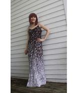 Maxi Dress Brown White Hippie Print Vintage 70s... - $29.99