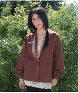 Brown Shirt Hippie Boho Western Top Vintage 70s... - $14.00