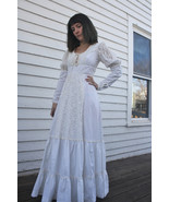 White Gunne Sax Prairie Dress Maxi 70s Vintage Hippie Wedding Bride XS - $79.99