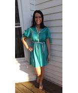 70s Green Mini Dress Retro 1970s Vintage XS Pet... - $19.99