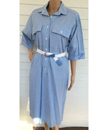 80s Chambray Blue Dress Vintage Retro Shirtdres... - $29.99