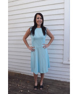 Blue Striped Dress Sleeveless Vintage 70s 1970s... - $29.99