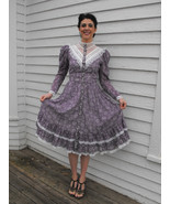 Vintage Gunne Sax Dress Floral Purple Romantic Western Prairie Victorian... - $89.99