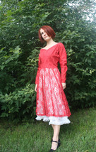 50s Red Lace Dress Cocktail Party Vintage 1950s GiGi Young S M - $79.99
