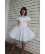 White Print Square Dancing Dress Vintage Countr... - $49.99