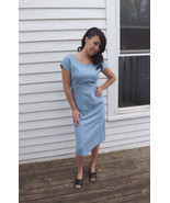 Vintage Blue Dress 50s 60s 1950s 1960s Sleevele... - $49.99