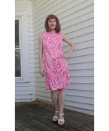 60s Hippie Mod Dress Pink Print Sleeveless Caro... - $44.00