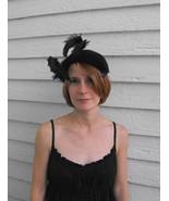 Vintage Dark Feather Hat Velvet Midnight Ink Go... - $29.99