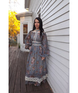 Gunne Sax Dress Victorian Reenactment Blue Flor... - $98.00