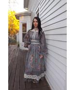 Gunne Sax Dress Victorian Reenactment Blue Floral Vintage 70s Lace 1970s... - $98.00