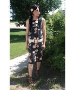 90s Black Floral Dress Sleeveless Vintage XS Ra... - $13.00