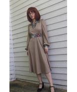 70s Brown Plaid Dress 1970s Vintage Print Long ... - $39.00