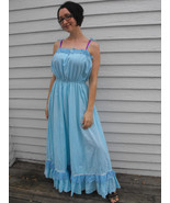 Blue Maxi Dress 70s Swiss Dot Long Ruffle Prair... - $39.99