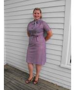 Vintage 70s Striped Dress Purple Secretary L XL - $27.00