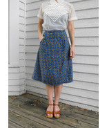 Blue Floral Skirt Quilted Wrap Vintage Casual X... - $18.00