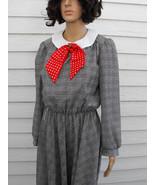 Plaid Dress Black White Print Polka Dot Red Bow... - $39.99