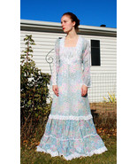 Vintage 70s Gunne Sax Dress Floral Prairie Hippie Full Length Boho XS - $79.99