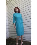 60s Blue Wool Dress Vintage 1960s Winter S XS - $39.99