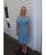 Sheer Print Dress 60s Blue Floral Caldwell Plus... - $19.99