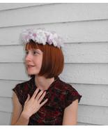 1960s Floral Purple Hat White Round Vintage 60s... - $22.00